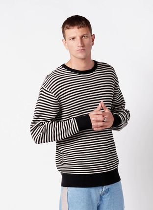 Crew Neck Pullovers Stripes Street Style Long Sleeves Cotton