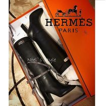 HERMES Leather Elegant Style High Heel Boots