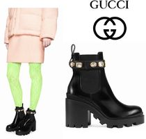 GUCCI Plain Toe Casual Style Plain Leather Chelsea Boots