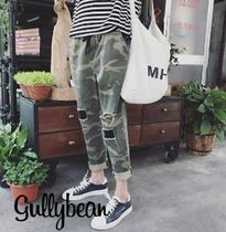 Camouflage Street Style Cropped Pants