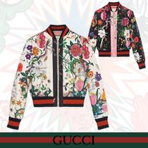 GUCCI Short Flower Patterns Elegant Style Bomber Jackets