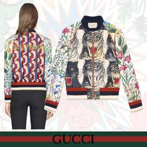 GUCCI Short Flower Patterns Varsity Jackets