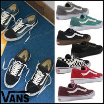 VANS OLD SKOOL Gingham Plain Toe Rubber Sole Casual Style Unisex Suede