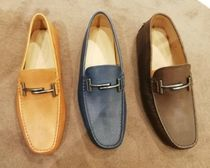 TOD'S Other Check Patterns Driving Shoes Unisex Plain Leather