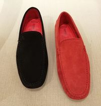 TOD'S Stripes Unisex Suede Bi-color U Tips Loafers & Slip-ons