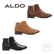 ALDO Round Toe Casual Style Plain Leather Oversized Chunky Heels