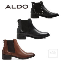 ALDO Round Toe Casual Style Studded Plain Leather Oversized
