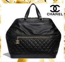 CHANEL Unisex Calfskin A4 Plain Boston & Duffles