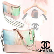 CHANEL Blended Fabrics 2WAY Chain Leather Python Elegant Style