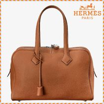 HERMES 2WAY Plain Leather Elegant Style Handbags