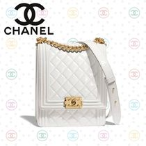 CHANEL BOY CHANEL Calfskin Blended Fabrics 2WAY Plain Shoulder Bags