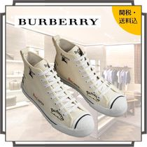 Burberry Round Toe Rubber Sole Lace-up Casual Style Blended Fabrics