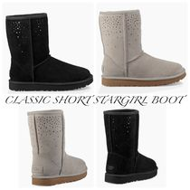 UGG Australia CLASSIC SHORT Star Round Toe Rubber Sole Casual Style Sheepskin Flat Boots