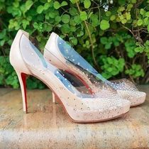 Christian Louboutin Open Toe Platform Blended Fabrics Bi-color Plain Party Style