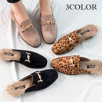 Leopard Patterns Round Toe Casual Style Faux Fur