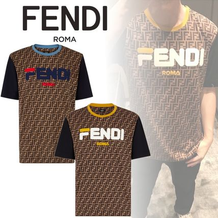 FENDI Crew Neck Crew Neck Cotton Short Sleeves Crew Neck T-Shirts
