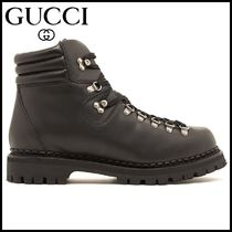 GUCCI Plain Leather U Tips Engineer Boots