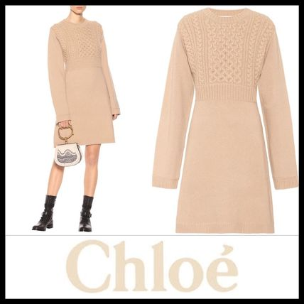 Short A-line Wool Long Sleeves Plain Elegant Style Dresses