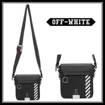 Off-White BINDER CLIP Stripes Street Style Leather Messenger & Shoulder Bags