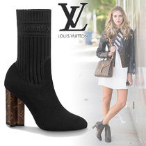 Louis Vuitton Monogram Plain Toe Blended Fabrics Street Style Block Heels