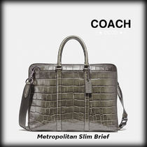 Coach A4 3WAY Plain Other Animal Patterns Leather