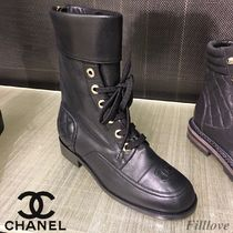 CHANEL Plain Leather Chunky Heels Ankle & Booties Boots