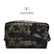 VALENTINO Camouflage Canvas Clutches