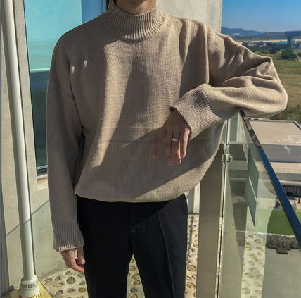 ASCLO Knits & Sweaters Street Style Collaboration Long Sleeves Plain 4
