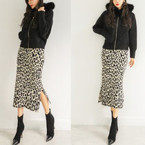 Pencil Skirts Leopard Patterns Casual Style Long Midi