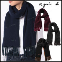 Agnes b Unisex Wool Plain Fringes Scarves