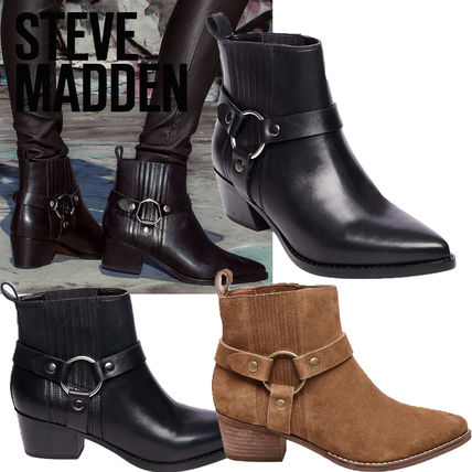 ffcc6f39593 Steve Madden 2018-19AW Cowboy Boots Casual Style Unisex Plain Leather Block  Heels