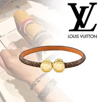 Louis Vuitton MONOGRAM Costume Jewelry Blended Fabrics Studded Leather With Jewels