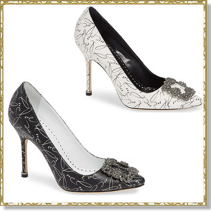 Leather Pin Heels With Jewels Elegant Style