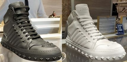 Star Studded Street Style Plain Leather Sneakers