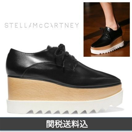 Square Toe Platform Lace-up Faux Fur Plain Shoes