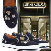 Jimmy Choo Round Toe Casual Style Plain With Jewels Slip-On Shoes