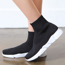 Round Toe Casual Style Plain Sock Sneakers Slip-On Shoes