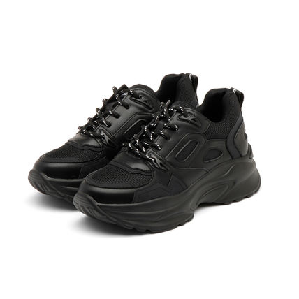 Casual Style Street Style Bi-color Plain Dad Sneakers