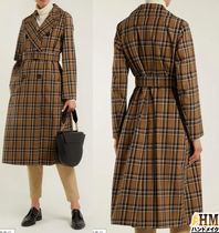 MaxMara Tartan Other Check Patterns Medium Office Style Trench Coats