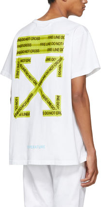 Off-White More T-Shirts Unisex Street Style Cotton T-Shirts