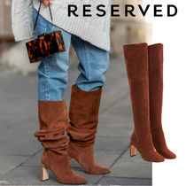 RESERVED Round Toe Casual Style Suede Plain Block Heels