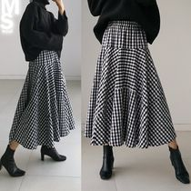 Flared Skirts Casual Style Cotton Long Midi Maxi Skirts