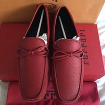 TOD'S Driving Shoes Unisex Suede Plain U Tips Loafers & Slip-ons