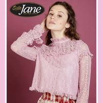 Sister Jane Long Sleeves Plain Medium Party Style Lace Shirts & Blouses