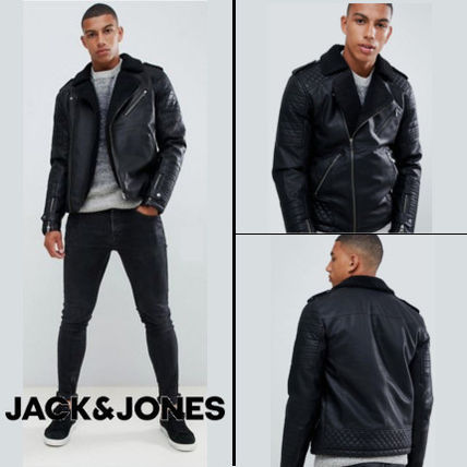 Short Faux Fur Plain Biker Jackets
