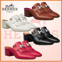 HERMES Plain Toe Blended Fabrics Plain Leather Fringes
