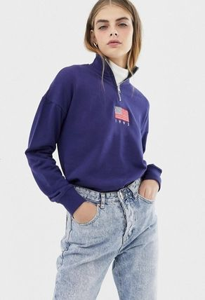 Sweat Street Style Long Sleeves Plain High-Neck