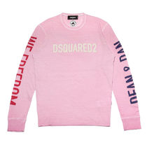 D SQUARED2 Crew Neck Long Sleeves Cotton Long Sleeve T-Shirts