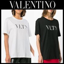 VALENTINO Crew Neck Street Style Plain Cotton Medium Short Sleeves