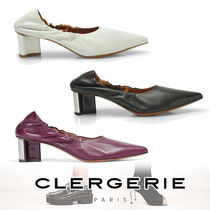 Robert Clergerie Casual Style Plain Leather Chunky Heels